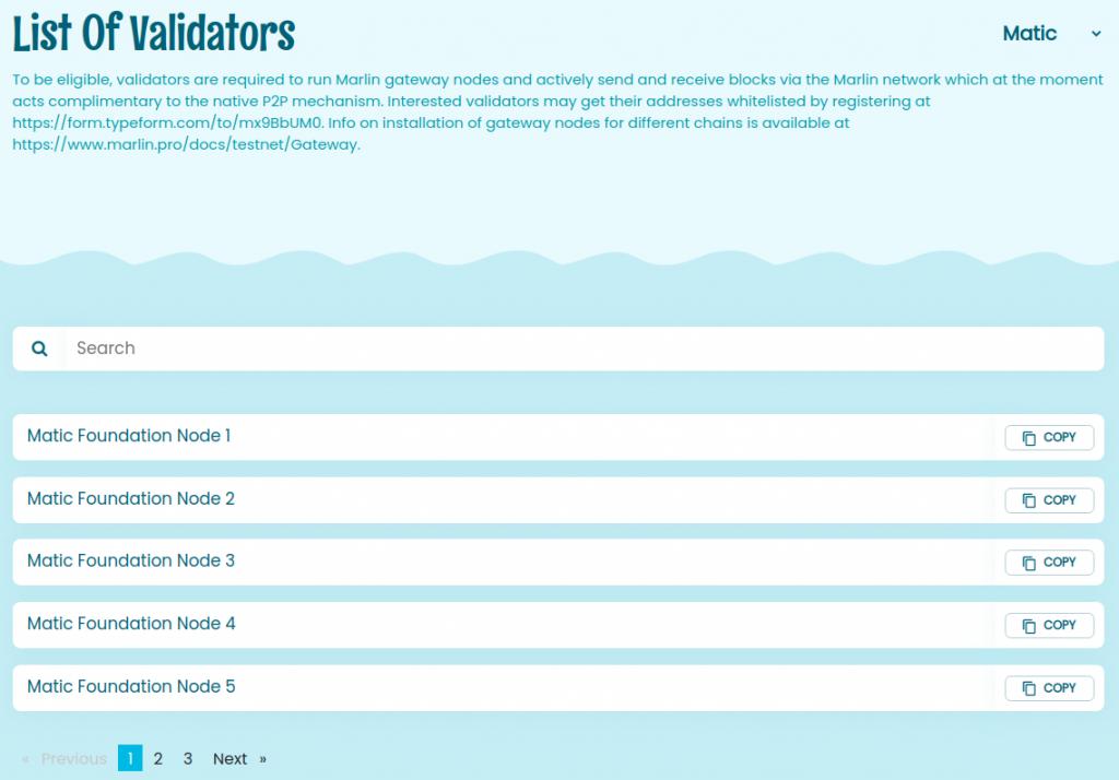 List of whitelisted validators on Matic